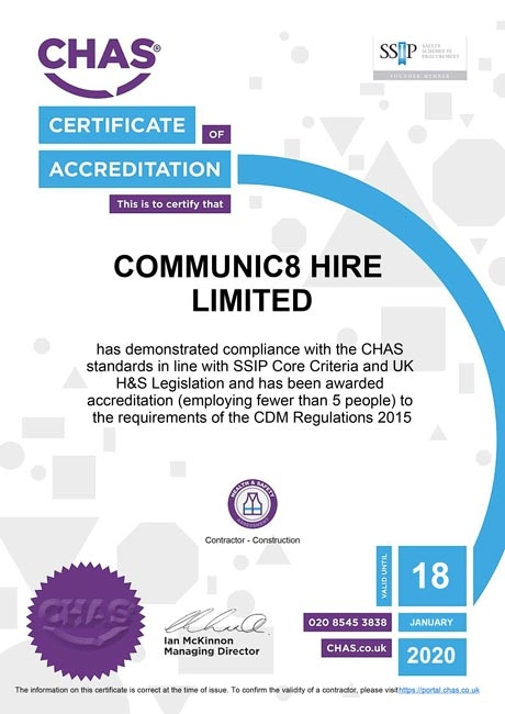 chas communic8 certificate 2019