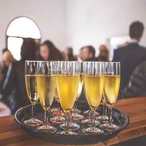 Champagne Glasses showing a successful event