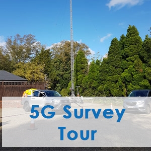 Picture showing our tower trailer setup with 5G Survey equipment in South of England.